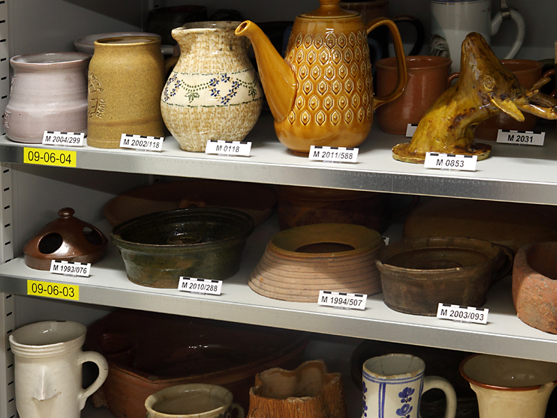 Pottery collection in steel cabinets